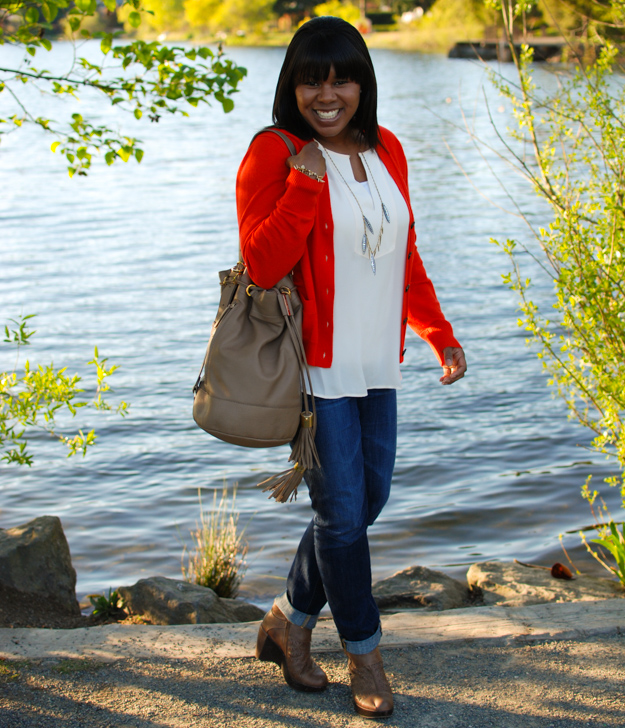 Lace & Pearls Red Cardigan 1
