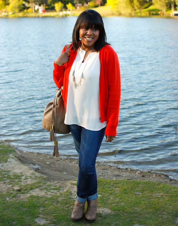 Lace & Pearls Red Cardigan 4