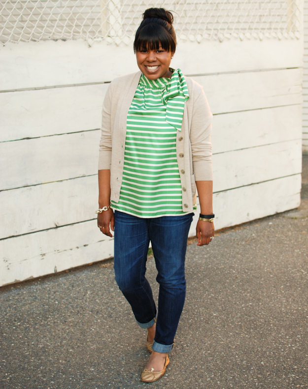 Lace & Pearls Stripe Blouse 1
