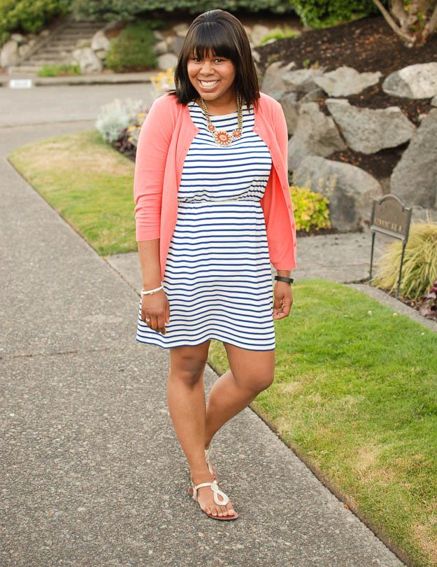 蕾丝珍珠条纹连衣裙2