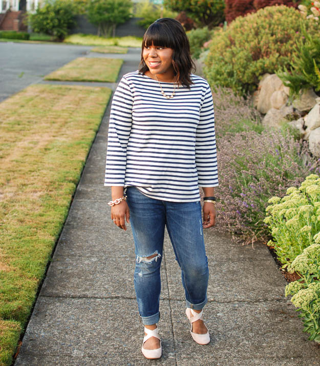 Lace & Pearls Stripe Tee 1