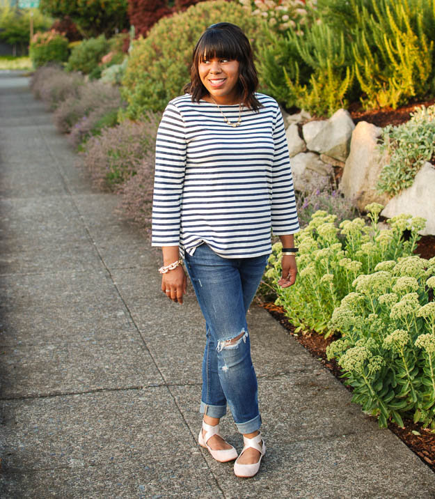 Lace & Pearls Stripe Tee 2