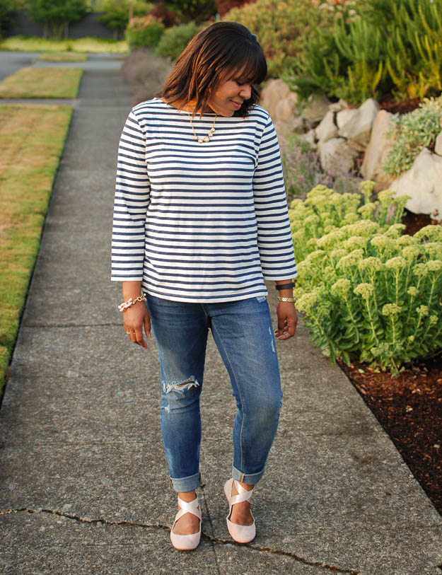 Lace & Pearls Stripe Tee 3
